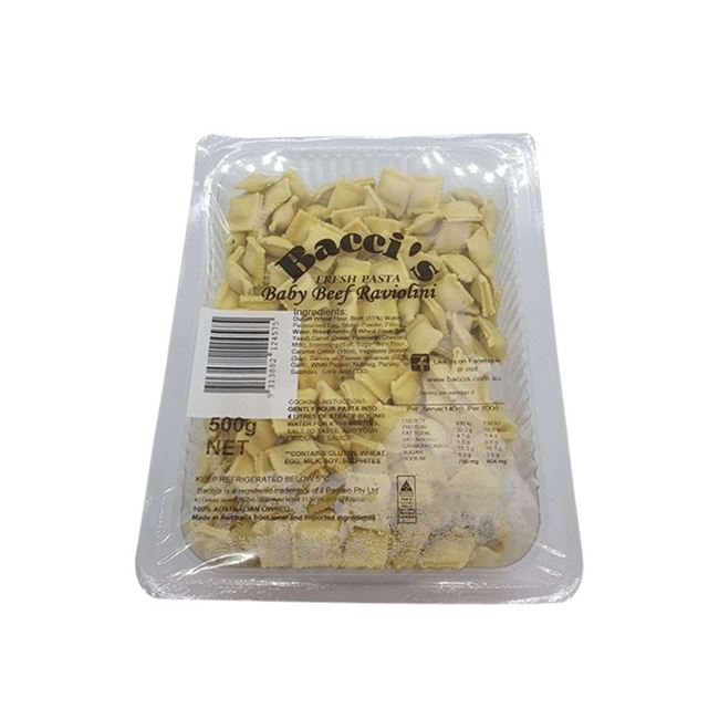 Picture of BACCI'S FRESH PASTA BABY BEEF RAVIOLINI 500G